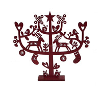 Christmas Decoration red tree with gifts/star/elk ,Wooden Christmas tree decorative on tabletop,Christmas tree as gifts