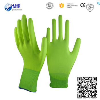 good quality 13g Green nylon liner PU wroking gloves/absirasion resistant gloves