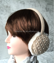 knitted women faux fur earmuff with pearl decoration