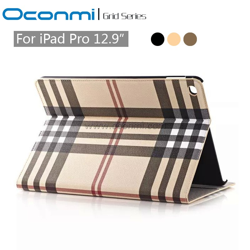 New Fashion Auto Wake/Sleep Classic leather case For Apple ipad Pro case 12.9 Grid pattern stand book cover for ipad pro cover