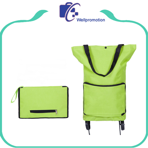 Polyester reusable shopping folding trolley bag supermarket