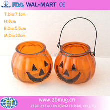 halloween small decorative hand painted frosted glass candle jars