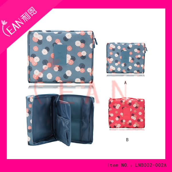 2017 hot sale professional blue zipper cosmetic bag canvas two layer travel make up bag