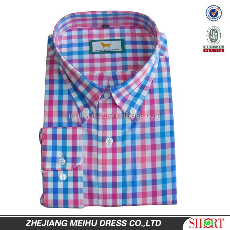 2016 Custom embroidery gingham check casual dress sport man shirt