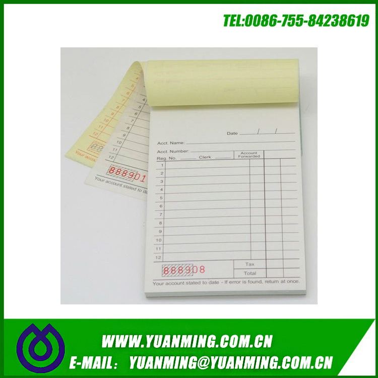 Two parts carbonless account book