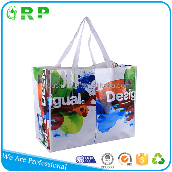 Favorable price full printing handled pp foldable reusable strawberry shopping bag