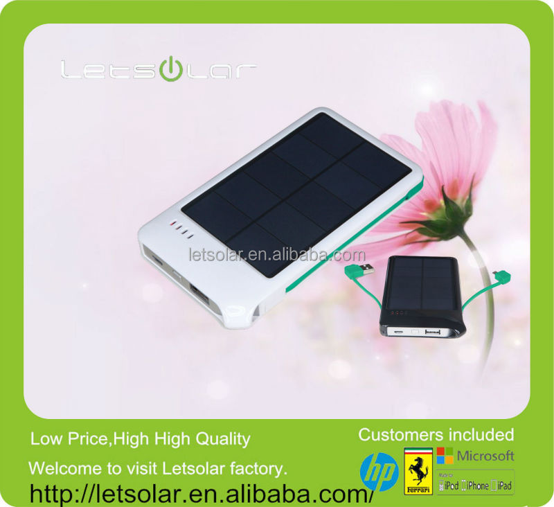China manafacturer power bank for nokia lumia 1020 Double output and double input solar charger LET62