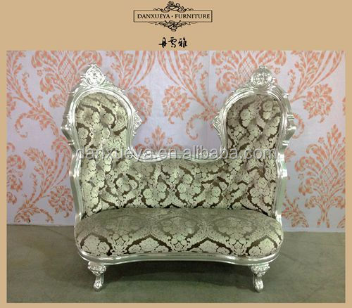 Unique wedding design bride and groom two lover seat chesterfield chair sofas