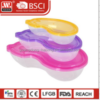 3 PCS unique shape food container with lid / clear food packaging storage container set