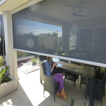 Custom waterproof PVC outdoor roller blinds for Pergola with shading side track