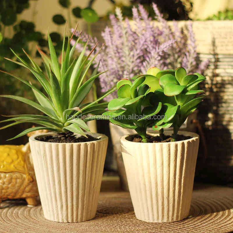 [ ZIBO HAODE CERAMICS]manufacturer supply ECO-friendly non-glazed striped design flower pot for indoor green plant no hole