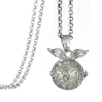 Drop Shipping Angel Wing Charm Locket Necklace for Amazon and Wish