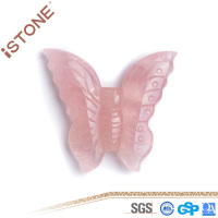 ISTONE Rose Quartz Butterfly Figurine Healing Crystals And Gemstones Natural Gemstones And Semi Precious Stones For Feng Shui