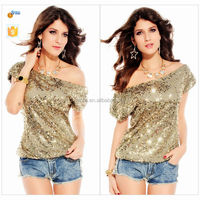 2015 hot sexy girls stylish t-shirt sexy girls sequined t-shirt/girls sexy short sleeves t-shirt/party club T shirt