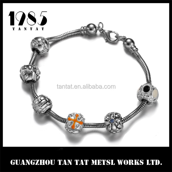 Alloy charming Bracelet with silver beads Jewelry
