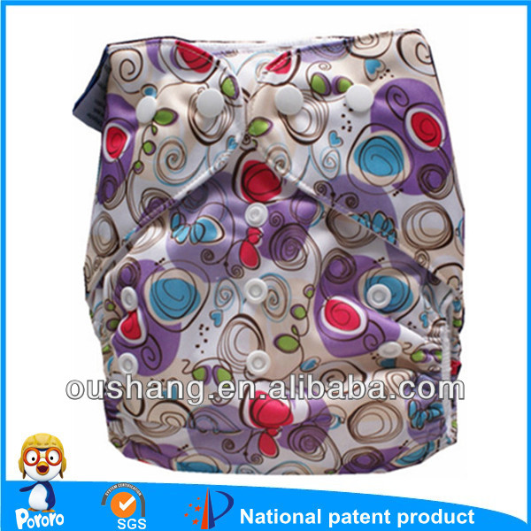 2014 Pororo Cloth Diaper Double Gusset, Colorful Snaps Reusable Nappies