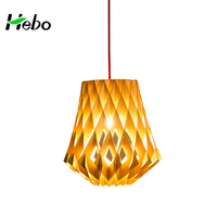 Chinese Modern Natural Wooden Lampshade Nordic Hanging Light Wood Pendant Lamp