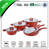 wave shape flat lid red color aluminium tri ply cookware