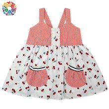 Newest Hot Pink Chevron And Cherry Prints Girl Child Dress Kids Girls Strapless Summer Dress Boutique 3-5 Year Old Girl Dress