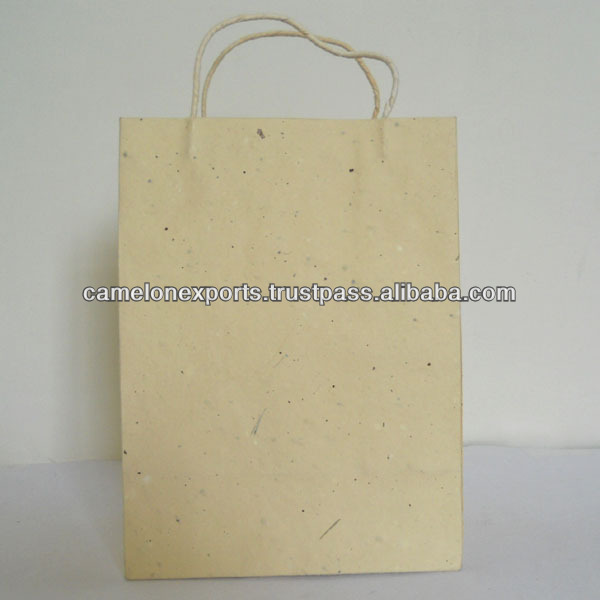 Indian manufactured recycled cotton handmade tea leaves paper beautiful carry bag for carrying gifts and for art & crafts.