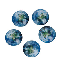 Round Flatback Blue Earth Pattern Transparent 20mm Glass Dome Seals Cabochon