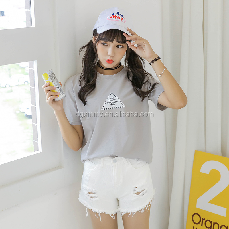 Ulzzang tops summer 2017 kawaii Korean t shirt women harajuku shirt cute ukraine new triangular letter print t-shirt female