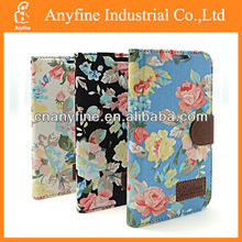 Fashion design Cowboy floral Cloth and leather case with flip cover for N7100