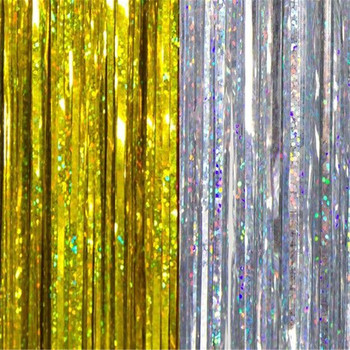 1mx2m Gold Tinsel String Foil Fringe Curtain Shiny Shimmer Party Wedding Birthday Door Decoration Christmas Tinsel Icicles