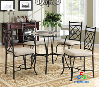 Dining room furniture kitchen dinette set 5 piece metal glass top table chairs sets wholesale