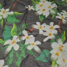 Flower print silk chiffon fabric