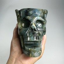 Hand carved natural labradorite stone carving skull ashtray for sale