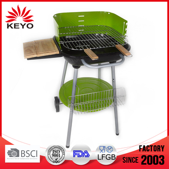 Hotlink KY19018 Green Trolley Simple Charcoal Grill With Wheels
