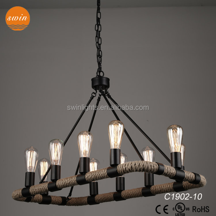 High quality new design rectangle bangladesh rope chandelier lighting