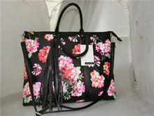 Floral Design Printed Women Handbag PVC Leather Large Shoulder Bag with Fringe and Long Strap