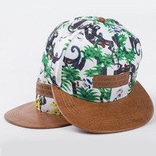New arrivals summer styles snapback <strong>hats</strong> with leather label monkey printing material boys hip hop bone (SU-HPS104)