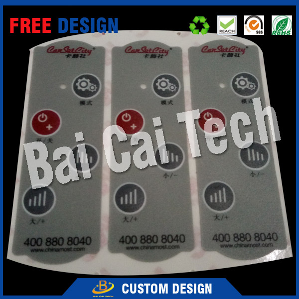 Low price custom good quality durable anti-counterfeiting waterproof PET 3m adhesive membrane keyboard