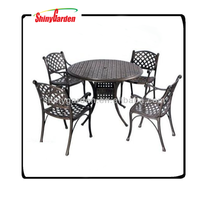 5-piece Bistro Set with 2 Chairs and a Table. Aluminum Dark Gold Indoor or Outdoor Patio Furniture Scented Tart