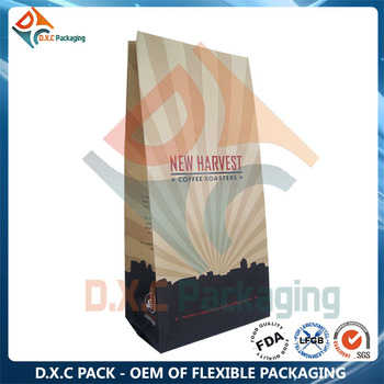 Flexo Printing Custom Laminated Kraft Paper Coffee Bag With Tin Tie