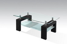 Tempered glass coffee table with MDF legs