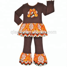 Thanksgiving day sets boutique turkey ruffle pants girl clothes