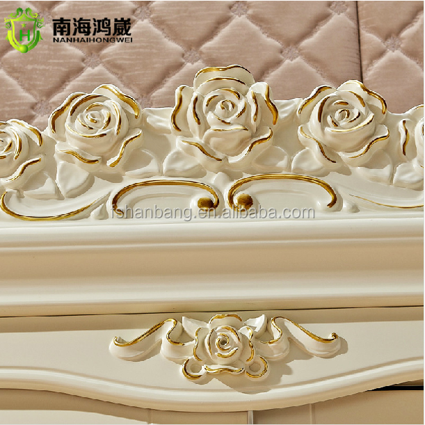 Silver Golden Stroke White Hand Carved French European Baroque Rocco Style Wooden MDF 2 Sliding Door Bedroom Wardrobe Closet