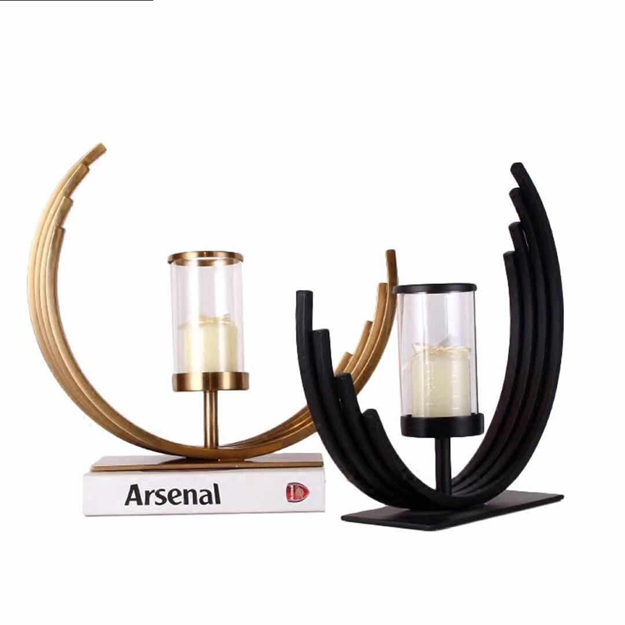 Norway Custom Unique Brass Metal Wrought Iron Hurricane Candle Holder Glass With Gold Black Home Decor Accents