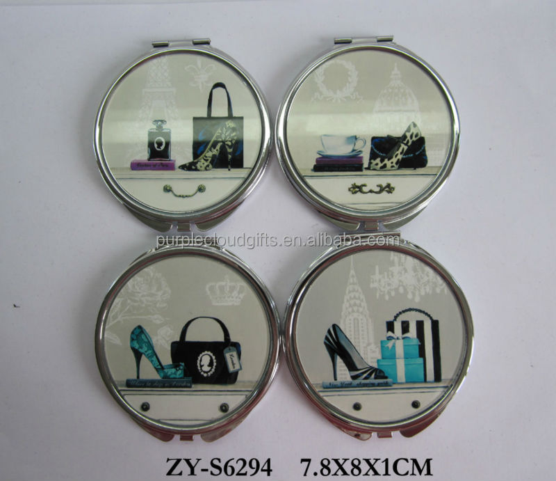 bag designs crystal glass flat top wholesale compact mirror, makeup mirror, round mirror