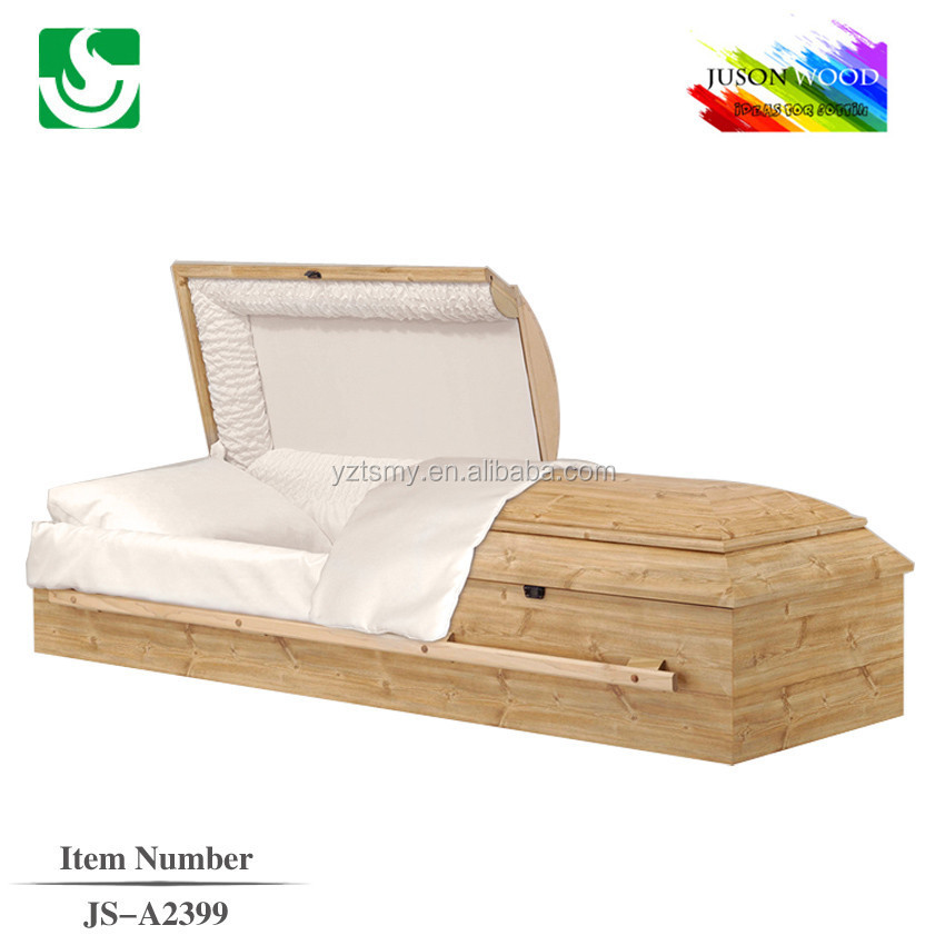 American style raw simple wooden casket interior lining