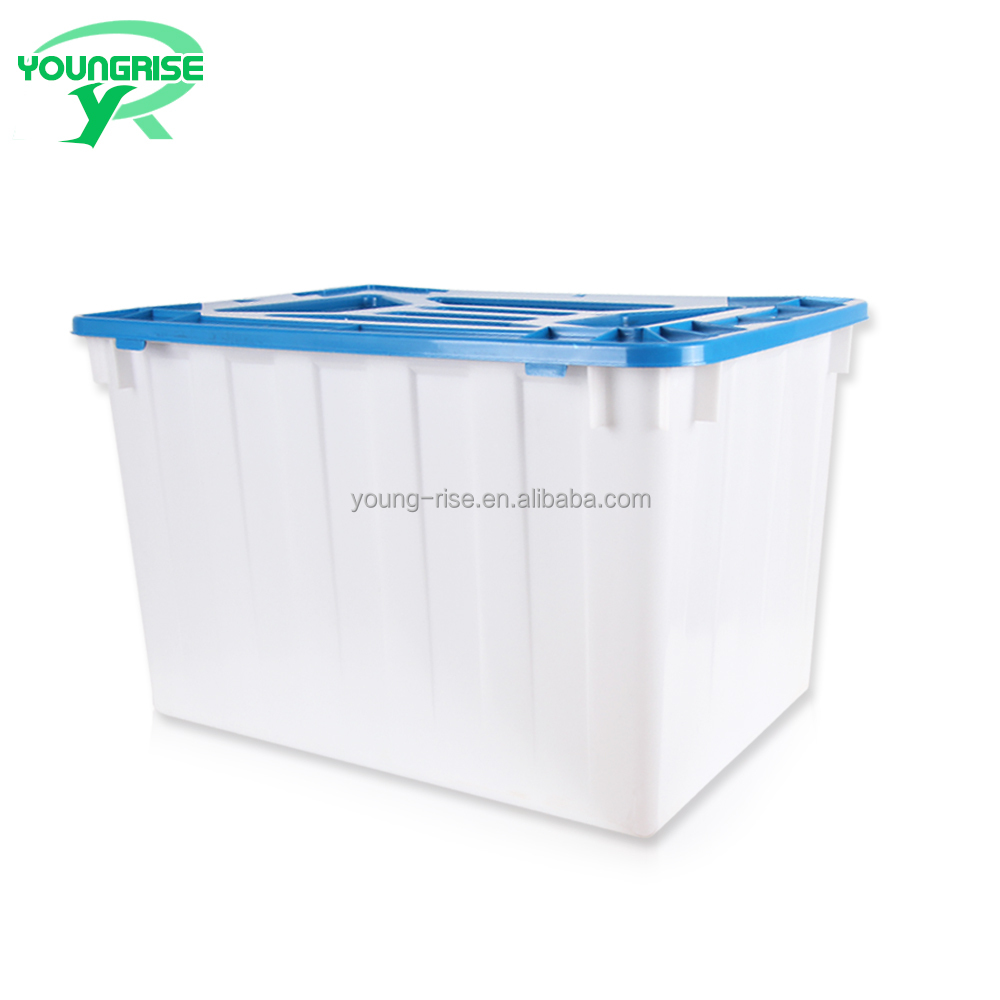 150L Stackable & Nestable Plastic Container Attached Lid for Water Storage Tank or Moving Plastic Crate Sale
