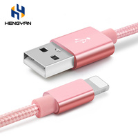 Wholesale factory price colorful nylon braided usb charger cable for iphone 6 7 8 s plus