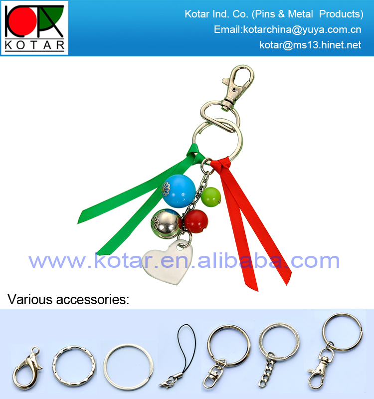 custom hot selling popular metal keychain with bead