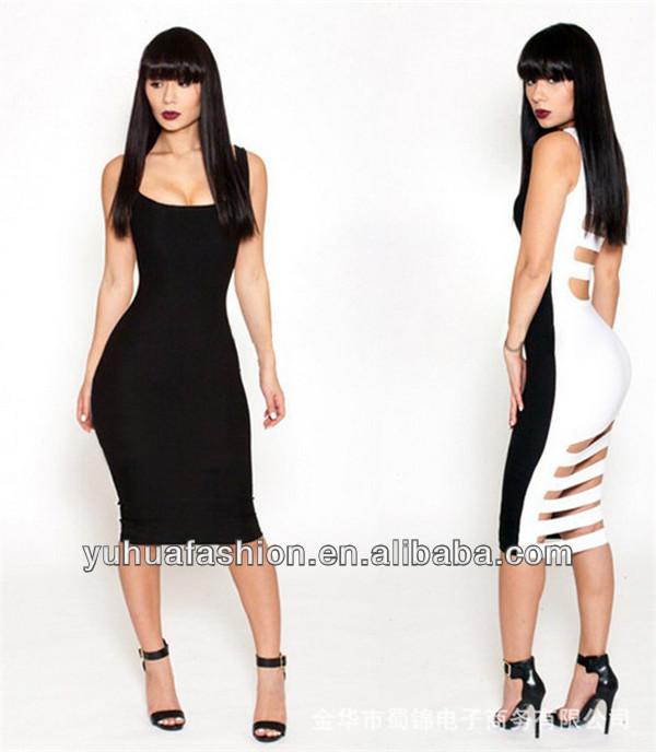 Pierced sexy halter in black and white stitching dress ,my choice dresses