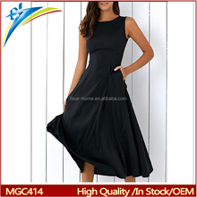 wholesale summer dress solid color sleeveless o neck women lady dresses