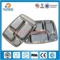 304Food grade stainless steel school lunch tray / divider lunch plate / serving tray